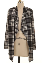 cardigan,black,white,plaid,elbow patches