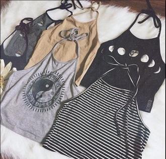 top black moon halter neck crop tops ying yang tank top jeans