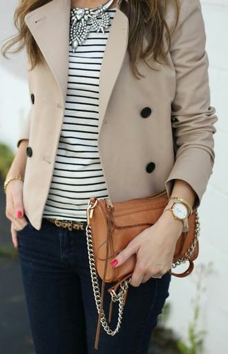 coat beige coat stripes striped shirt striped shirt blak white jeans jewels jewelry set necklace brown bag clutch clothes fancy coat jacket nice outfit fancy outfit outfit fashion fashion outfit women coat women watches womens accessories button coat women