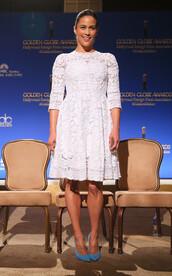 dress,white dress,white,lace,lace dress,paula patton