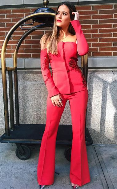 jacket suit pants off the shoulder red jojo fletcher instagram fall outfits