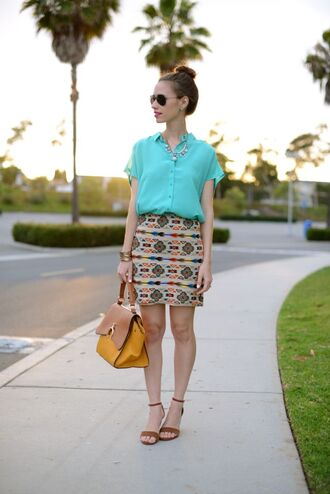 m loves m blouse skirt shoes jewels bag sunglasses embroidered skirt embroidered mini skirt printed skirt shirt blue shirt aqua yellow bag aviator sunglasses sandals suede sandals