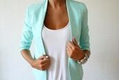 blouse,jacket,watch,turquoise,mint,coat,blazer,mint blazer,mint jacket,green,aqua,tight,blue,white,horloge