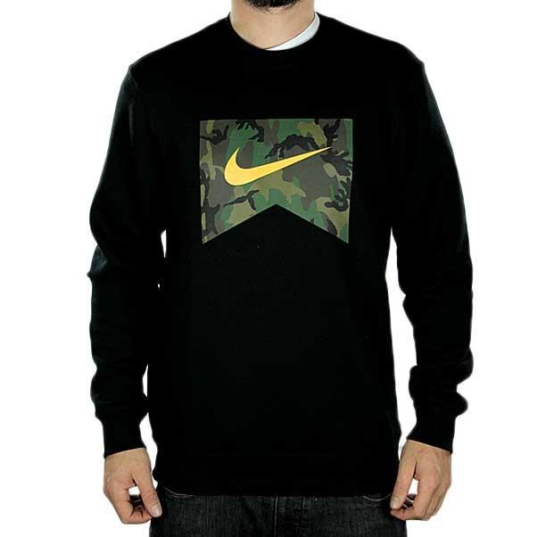 Nike sb crew sweat foundation camo fill black