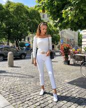 shoes,sneakers,white sneakers,white jeans,belt,off the shoulder,mini bag,sunglasses