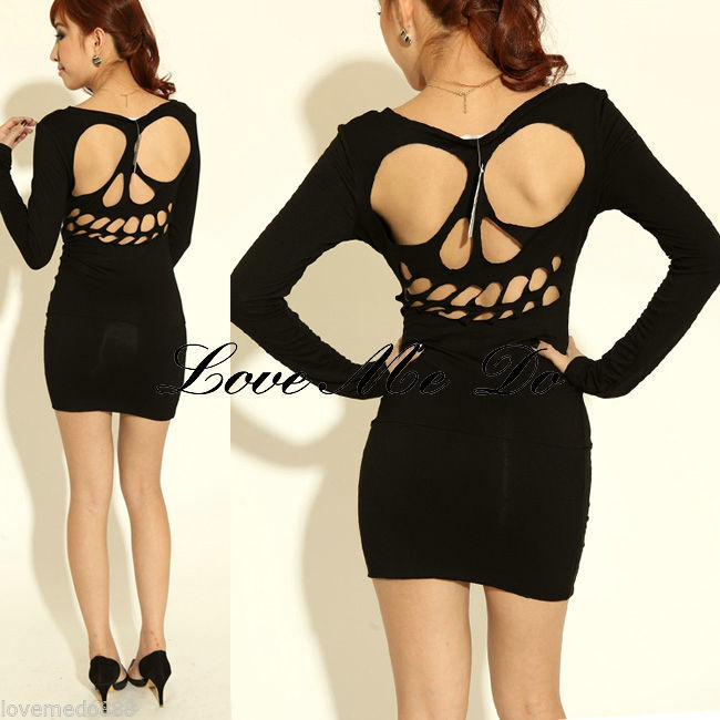 WOMENS skull cut OUT CAGE patterned OPEN BACK mini club bodycon dress small