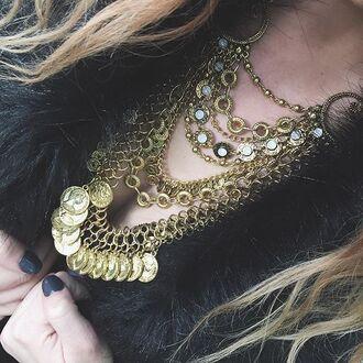 jewels gold necklace necklace statement necklace big necklace aztec gypsy gypsy jewelry boho jewelry bohemian jewelry boho boho chic bohemian chunky necklace gold chunky necklace cherry diva