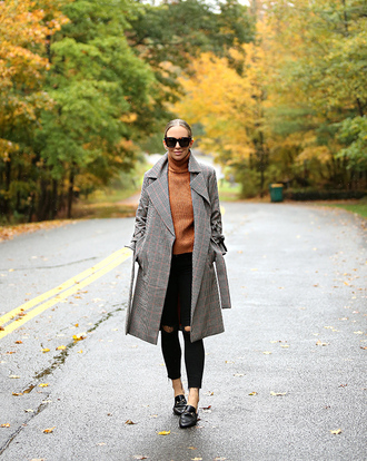 coat grey coat tumblr denim jeans black jeans skinny jeans ripped jeans sweater camel camel sweater turtleneck turtleneck sweater sunglasses loafers black loafers