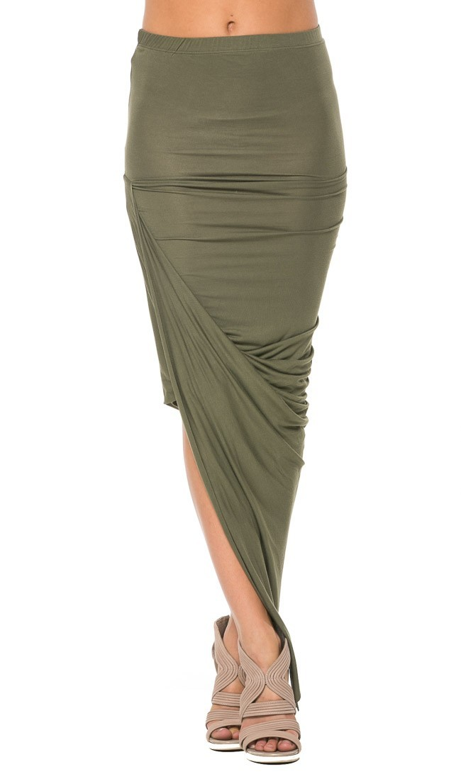 olive asymmetrical twisted maxi skirt
