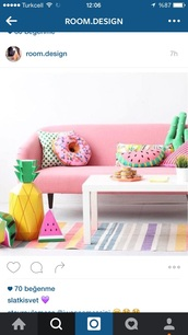 home accessory,pillow,living room,donut,watermelon print,cactus,pastel,girly