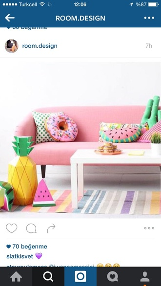 home accessory pillow living room donut watermelon print cactus pastel girly