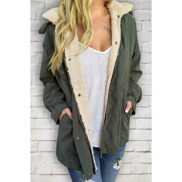 Casual Convertible Faux Fur Hooded Long Sleeve Drawstring Thick ...