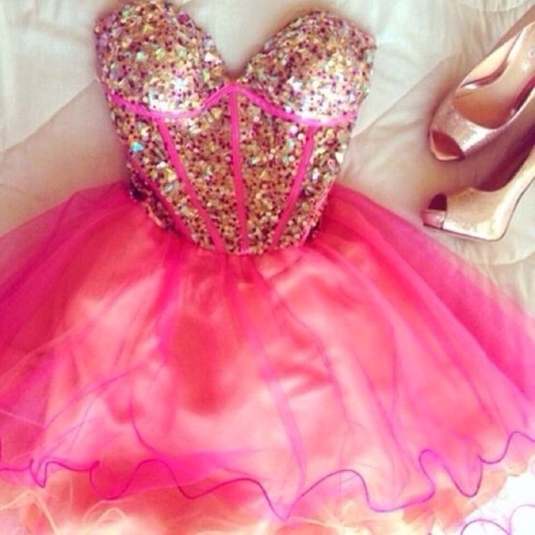 Dress: pink gold short cute dress, pink, gold, glitter, sparkle ...