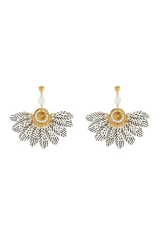 feathers earrings gold white jewels
