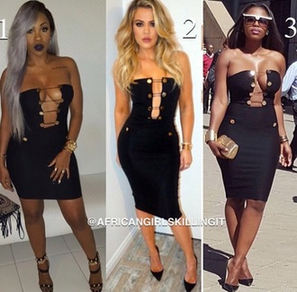 dress black bodycon dress black dress bodycon plunge neckline cleavage deep cleavage khloe kardashian strapless strapless dress party dress sexy party dresses sexy dress party outfits celebrity celebrity style celebstyle for less kardashians little black dress