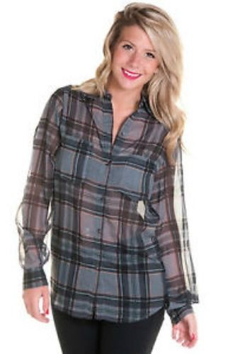Motel Rocks Laurel Shirt Plaid Grey Purple S Vintage Grunge Fashion