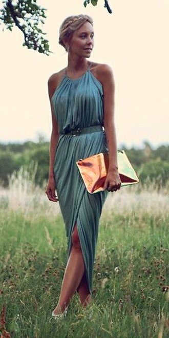 dress blue green draped dress halter neck