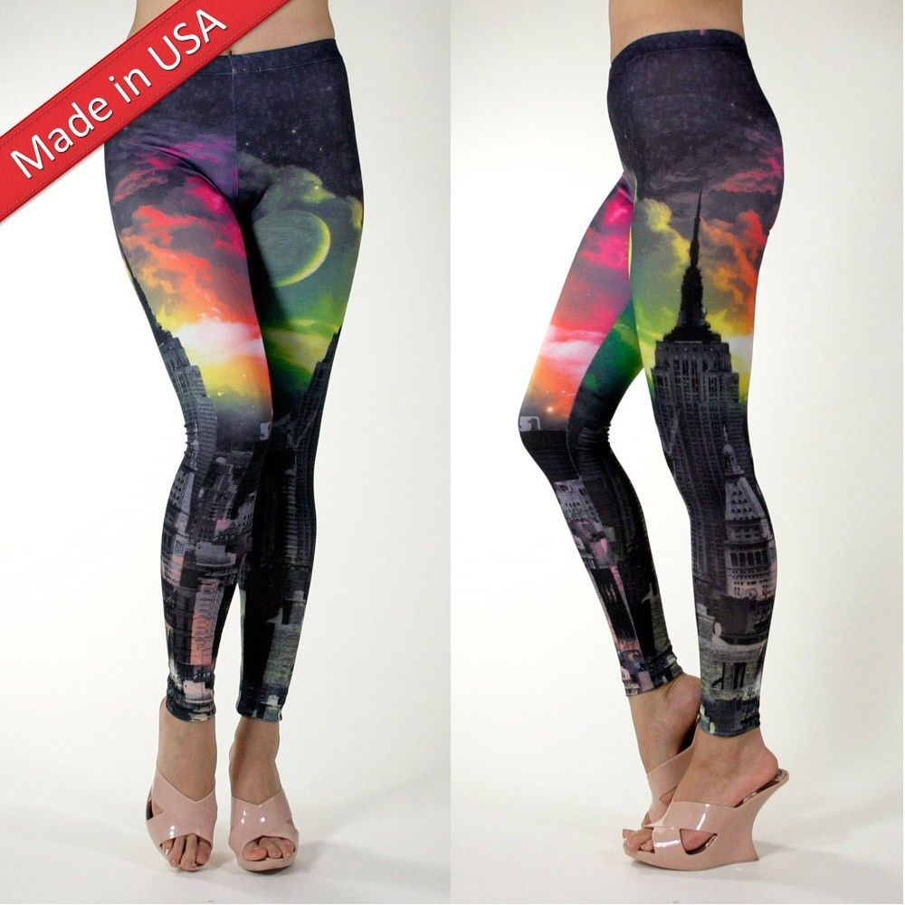 Galaxy Fantasy Cosmic Dark City Night View Leggings Tights Pants Made in USA