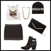 hat,beanie,meow,skirt,boots,tank top,bag,shoes,jewels