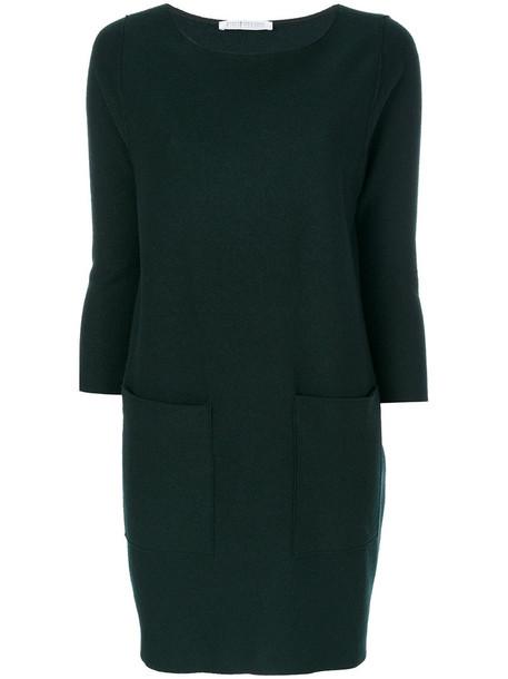HARRIS WHARF LONDON dress pocket dress women wool green
