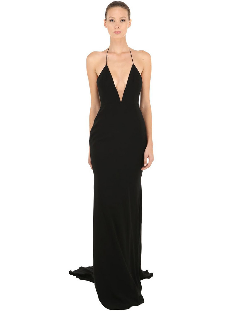 ALEX PERRY Satin Crepe Deep V Long Halter Dress in black