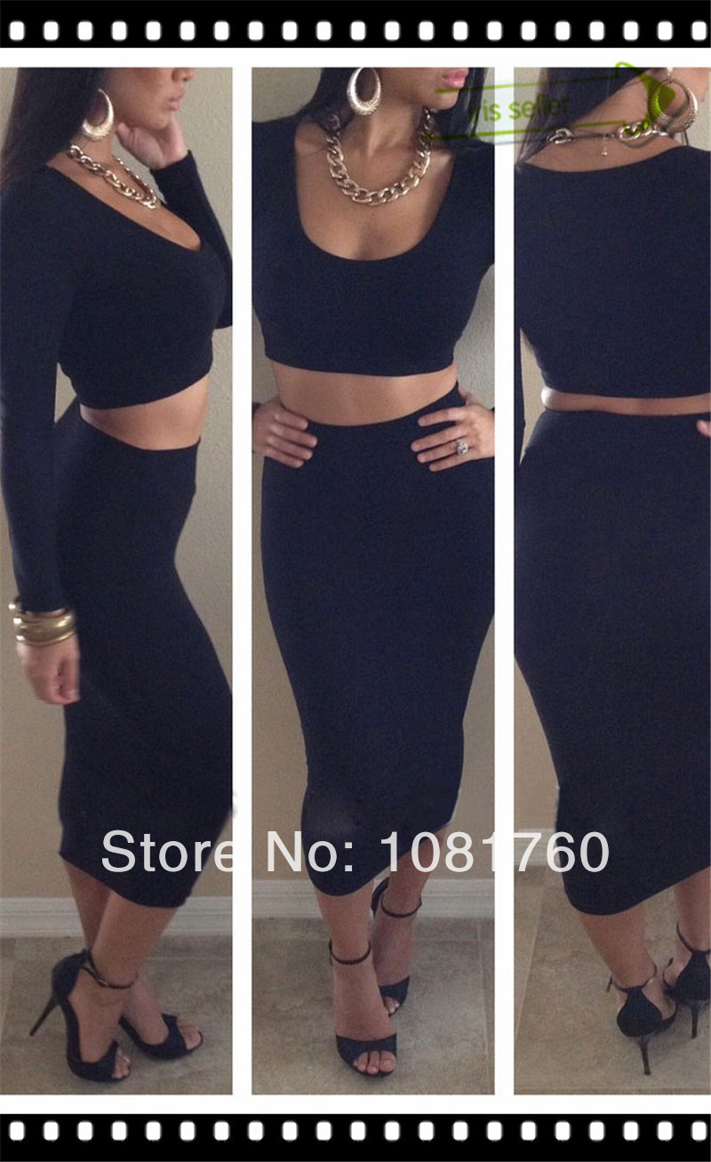 Two piece bodycon crop top and set sexy dress club wear white/orchid/red/black/orange