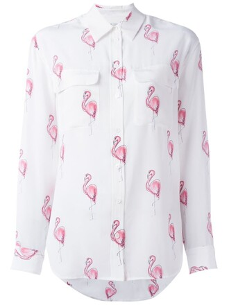 shirt women flamingo white print silk top