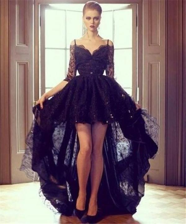 Discount 2015 sheer hi lo black evening dresses lace half sleeves applique sequin off shoulder zipper ball gown vintage formal prom gowns custom made online with $127.75/piece