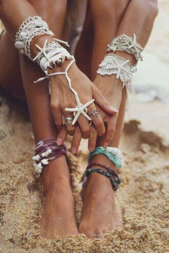 jewels anklet bracelets shell tacked bracelets stacked bracelets