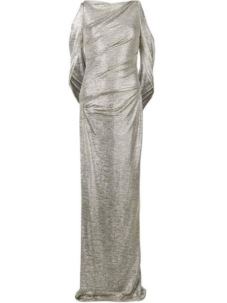 Talbot Runhof dress women spandex grey metallic