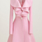 Charming pink long sleeve turndown collar woolen coats