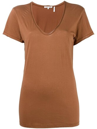 t-shirt shirt women cotton brown top