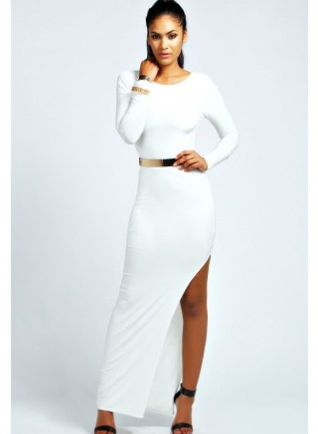 long dress white dress slit dress