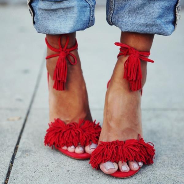 shoes fsj shoes fed fringe summer heels red shoes red heels red heels dress sandal heels high heel sandals