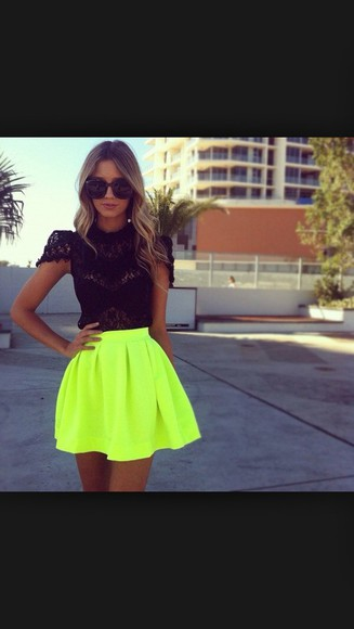 skirt neon yellow skater skirtt