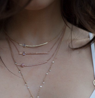 jewels jewelry necklace rhinestones beautiful gold rosegold rose quartz