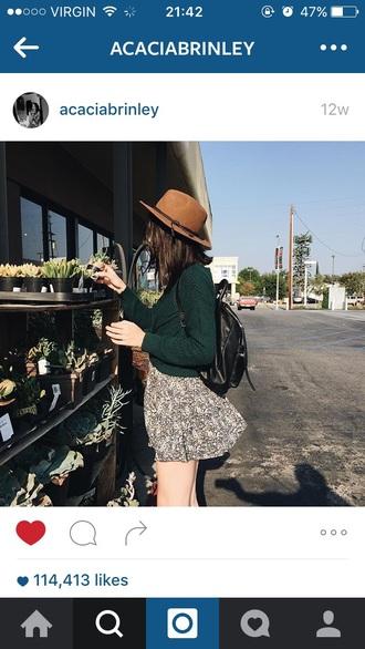 skirt green sweater brown hat acacia brinley brinley green sweater green skirt brown hat hipster cute floral
