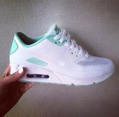 shoes,nike blue white,air max,white and mint,nike shoes,nike air max 90,running shoes,nike air max 1,nike air,floral nikes,nike running shoes,nike shoes for women,nike air maxes 90,white,green,turqoise and white