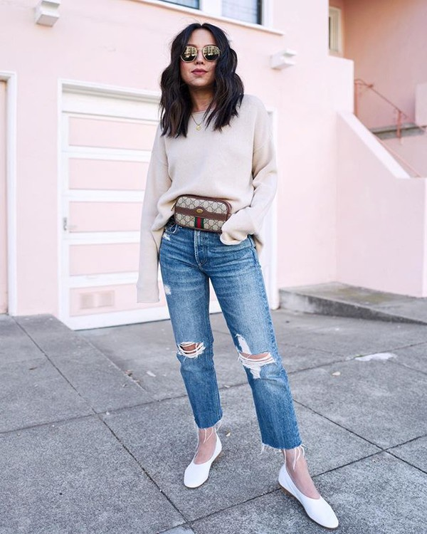 c331facfd bag jeans ripped jeans straight jeans shoes flats white shoes gucci gucci  bag belt bag white