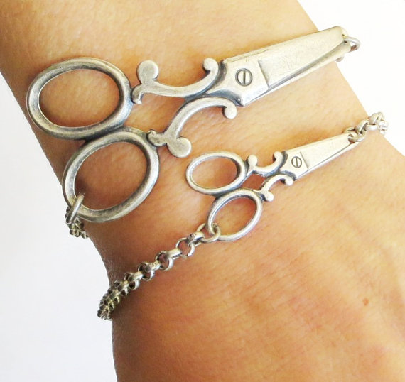 Small Steampunk Scissor Bracelet Sterling Silver Ox by BellaMantra
