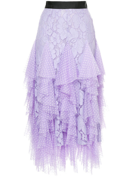 skirt ruffle women fantasy cotton purple pink