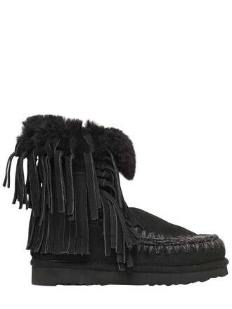 shearling boots boots black shoes