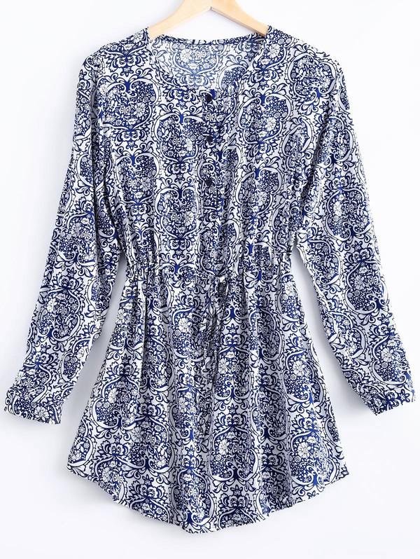 dress pattern blue fashion boho style long sleeves festival summer gamiss
