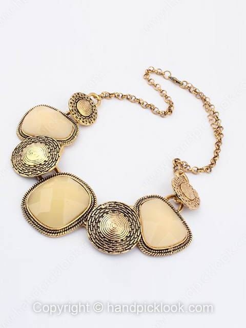 Apricot Gemstone Retro Geometric Gold Chain Necklace - HandpickLook.com