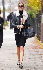 dress,fall outfits,jacket,karlie kloss,flats,ballet flats,streetstyle,model off-duty,handbag,black jacket,shoes