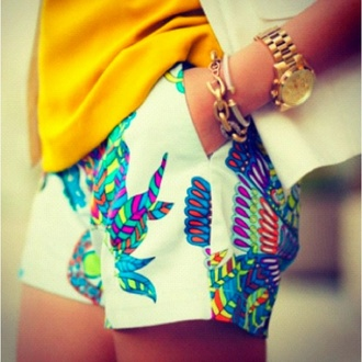 shorts feather print rainbow colorful cute blogger fashion white colorful shorts printed shorts pink yellow blue bright multicolor