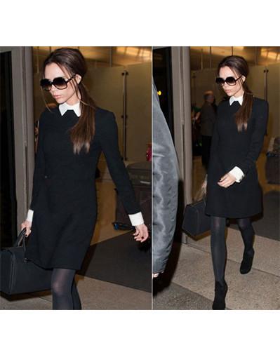 Victoria beckham white collar dress american celebrity celeb dress