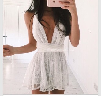 dress white dress white white lace romper romper lace v neck summer summer outfits wrap dress sheer