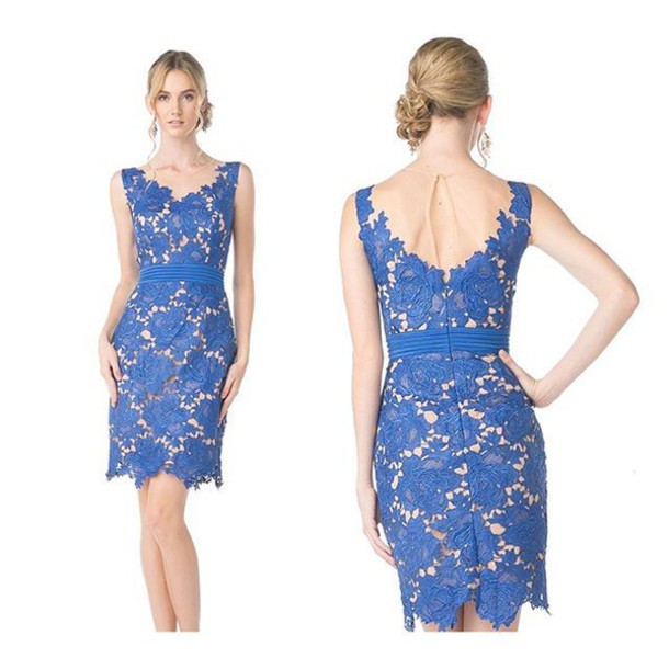 Dress sleeveless lace royal blue cocktail dress short dress