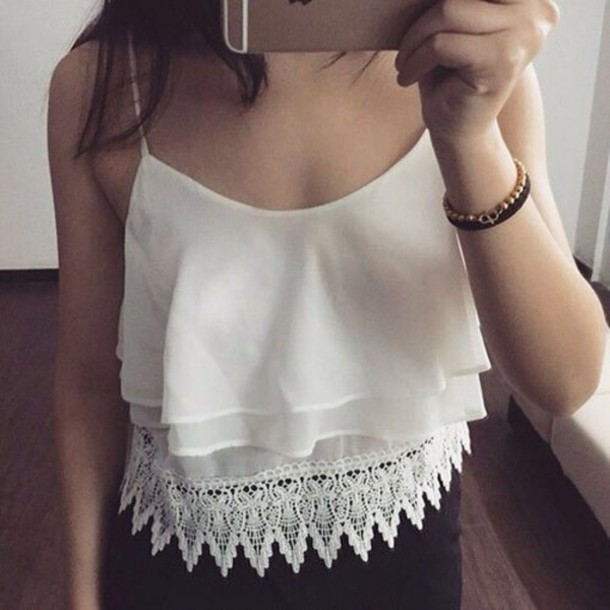 tank top lace top crop tops white top ruffled top